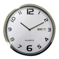 5 Star Fcl Dated WallClock 300mm Wht/Gry (Pack 1)