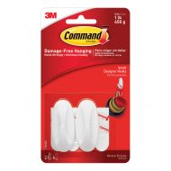 Command Small Oval Adhesive Hooks pk2 (Pack 1)