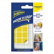 Sellotape Hook & Loop 24 Removable Pads (Pack 1)