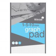 Silvine A4 Graph Pad 1/5/10mm 90gsm (Pack 10)