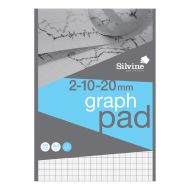Silvine A4 Graph Pad 2/10/20mm 90gsm (Pack 10)