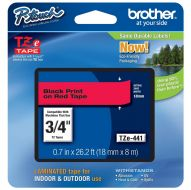 )Brother 18mm BlkOnRed Tape TZE441 (Pack 1)