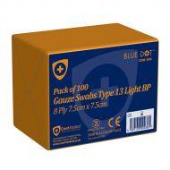 )C/Med Gze Swabs 7.5X7.5Cm Pk100 N/Ster (Pack 1)