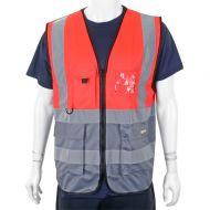 )2Tone Exec Waistcoat Red/Grey Med  (Pack 1)
