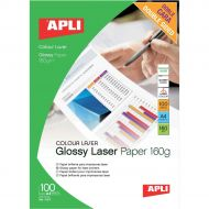 Apli Laser Glossy DS Paper A4 160g Pk100 (Pack 1)