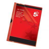 5 Star Office Clip Folder 6mm Red (Pack 25)