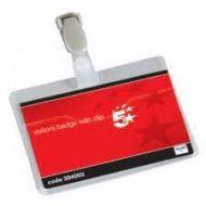 Name Badges Visitors Landscape with Plastic Clip 60x90mm [Pack 25]