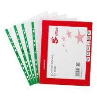 Punched Pocket Polypropylene Green Strip Top-Opening 45 Micron A4 Glass Clear 464718 [Pack Of 100]
