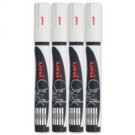 Uni Chalk Mkr Med BlltTip PWE-5M Wht Pk4 (Pack 4)