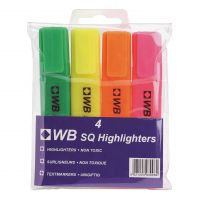 5 Star Value Highlighters Assorted Pk4 (Pack 1)