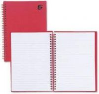 A5 Manuscript Notebook Wirebound 70gsm Ruled 160pp Red [Pack 5]