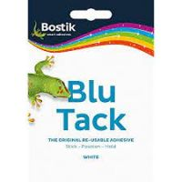 Blu Tack White Mastic Adhesive Non-toxic Handy Pack 60g [Pack 12]