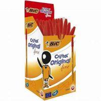 Bic Orange Ball Pen Fine 0.8mm Tip 0.3mm Line Red [Pack 20]