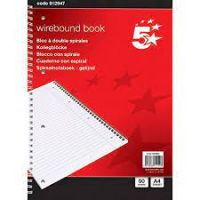 Office Notebook Wirebound 70gsm Ruled and Margin Perforated Punched 4 Holes 100pp A4 Red [Pack 10]