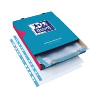 Punched Pocket Polypropylene Embossed Blue Strip Top-opening 60 Micron A4 Clear [Pack 100]
