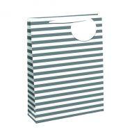 Striped Gift Bag Med White/Slv Pk6