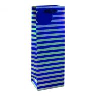 Striped Bottle Bag Blue/Slv Pack 6
