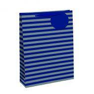 Striped Gift Bag Med Blue/Slv Pk6