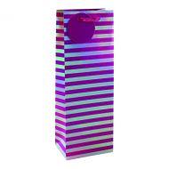 Striped Bottle Bag Pink/Slv Pack 6