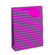 Striped Gift Bag Med Pink/Slv Pk6