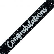 Congratulations Banner Blk/Slv Pk6