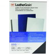 GBC L/Grain Black A5 Binding Cover Pk100