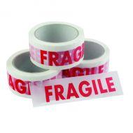 Printed Tape Fragile Vinyl White Red Pk6