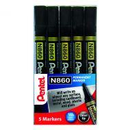 Pentel Chisel Tip Marker Blk Pk5