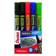 Pentel Chisel Tip Marker Astd Pk5