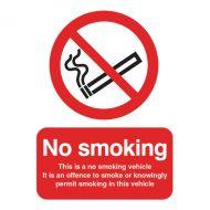 No Smoking Vehicle 100x75mm Slf-Adh Sign