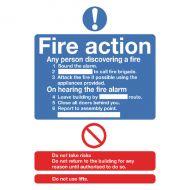 Fire Action Std A5 Self-Adh Sign