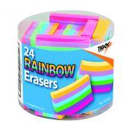 Rainbow Coloured Erasers Pk24